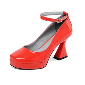 Platform Leather 8 cm High Heel Red Pumps Shoes With Ankle Strap Round Toe Classic Patent