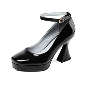 Leather Ankle Strap Patent Pumps 8 cm High Heels Black Classic Round Toe