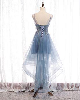 二次会 パーティー ドレス フレア 可愛い ブルー グレー レース ミニ オープンバック カクテル ドレス 1719051244-1