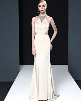 With Crystal White Backless Evening Dress Sheath Satin