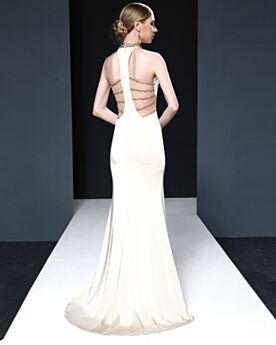 Rückenfreies Lange Weiß Elegante Kleider Für Festliche Etui Ärmellos Abendkleid Roter Teppich Kleider