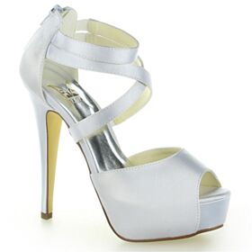 Ankle Strap Strappy Elegant Sandals For Women Bridal Shoes 5 inch High Heel Peep Toe Stiletto Platform