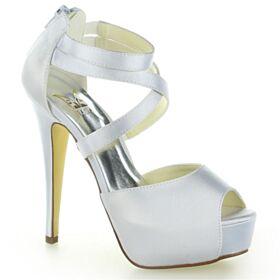 Sandales 13 cm Talon Haut Élégant Ivoire Peep Toes Chaussure Mariage Talon Aiguille Plateforme Avec Bride Cheville