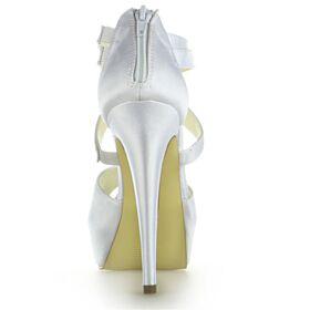 Bruidsschoenen Plateau Sandalen Enkelband Satijnen High Heels Mooie Stiletto