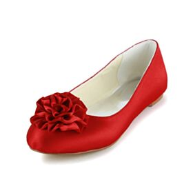 Satijnen Bruidsschoenen Platte Mooie Rode Ballerina Schoenen Ronde Neus
