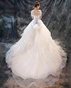 Aライン ホワイト ロング ウエディング ドレス ハート ネック チュール ノースリーブ エレガント ストラップ レス レース 1721230717