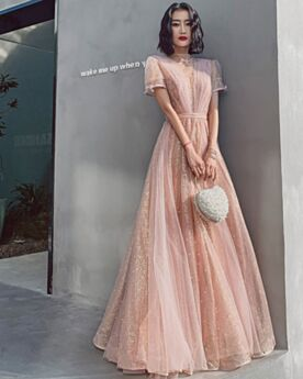 Princess Short Sleeve Tulle Evening Dresses Prom Dress Beautiful Sequin Pearl Pink High Neck Lace Sparkly