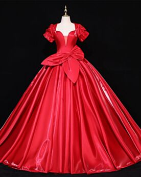 Ball Gown Low Cut Backless Red Long Simple Wedding Dress