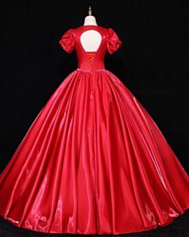 Escotados Sencillos Con Cuentas De Satin Con Manga Corta Rojo Vestidos De Novia Largos Estilo Princesa