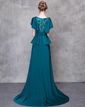 Stile Impero Vestiti Da Cerimonia Verde Petrolio Maniche Corte Peplum Balze In Raso Vestito Da Sera Lunghi Eleganti Con Fiocco