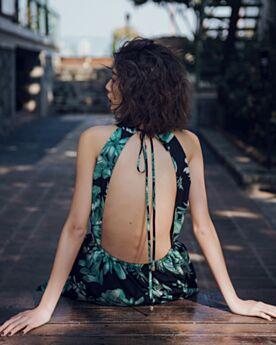 Rectos De Algodon Vestido De Playa Dividido Espalda Descubierta Lazo Sexys Halter Maxi Vestidos Bohemios Estampado