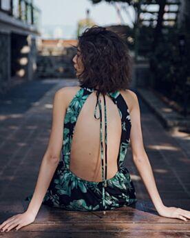 Sexy Ärmellos Gerade Strandkleider Rückenfreies Maxi Sommer Boho Neckholder Kleider