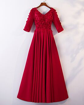 Svasato Abiti Cerimonia Bohemien Tulle Vestiti Da Sera Rosso Pizzo Lungo Impero
