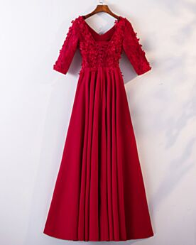 Red Empire Long Bridesmaid Dress Backless Evening Dresses Boho Tulle Lace Beading Fit And Flare