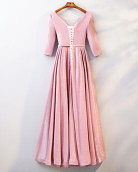 Laag Uitgesneden Galajurk Glitter Avondjurken Roze Halve Mouw Lange Steentjes