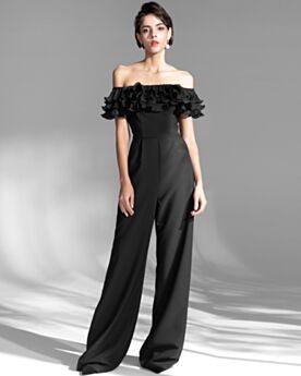 Black Ruffle Cold Shoulder Formal Dresses Elegant Jumpsuits Chiffon Off The Shoulder