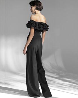 À Volants Epaule Nu Epaule Dénudée Mousseline Robe De Soirée Combinaison Noire Dos Nu