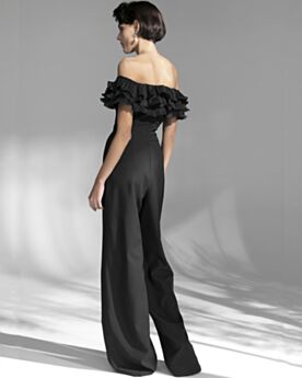 Black Ruffle Cold Shoulder Formal Dresses Elegant Jumpsuits Chiffon Off The Shoulder