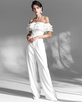 Gasa Largos Volantes Vestidos De Noche Blancos Elegantes Hombros Caidos Monos Vestidos De Fiesta