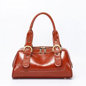 Satchel Patent Studded Brown Going Out Classic Shoulder Bag Vintage Handbag