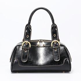Schwarze Satchel Bag Mit Nieten Vintage Casual Umhängetasche Klassisch Taschen Damen Mit Griffe Lack