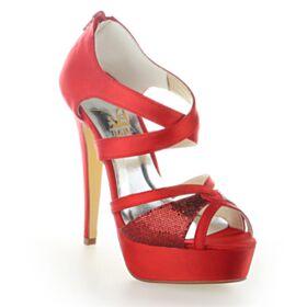 Verano Elegantes Con Plataforma Zapatos Para Novia Sandalias Peep Toe Tacones Altos De Satin Rojos Stiletto Lentejuelas