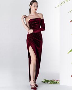 シース カクテル ドレス ワイン レッド 長袖 ストラップ レス パーティー ドレス シンプル な ロング スリット 1821310381