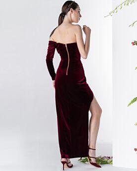 Long Sleeves Backless Vintage Off The Shoulder Bandeau Cold Shoulder Slit Velvet Cocktail Dress Sheath Burgundy Simple