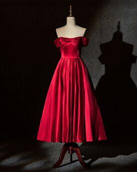 Wadenlang Festliche Kleider Rot Off Shoulder A Linie Trauzeugin Kleid