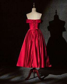 Mi Longue Princesse Simple Robe Demoiselle D'honneur Epaule Dénudée Rouge