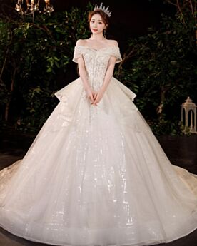 Tulle Wedding Dresses Open Back Sparkly Princess Sequin Charming Luxury Glitter White