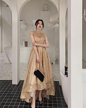 Kurzarm Asymmetrisches Vokuhila Kundengerecht Knöchellänge Spitzen Standesamt Hochgeschlossene Brautkleider