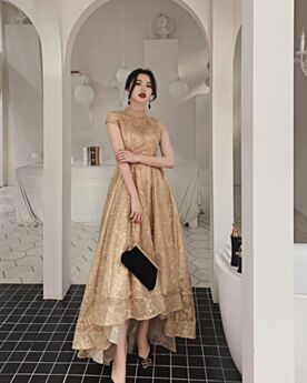 Maniche Corte Alla Caviglia Matrimonio Civile In Pizzo Oro Eleganti Asimmetrico Collo Alto Abiti Da Sposa