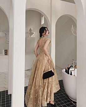 Asimetricos Vestidos De Novia Elegantes High-Low Civil Largos Corte A Con Encaje Dorados Cuello Alto