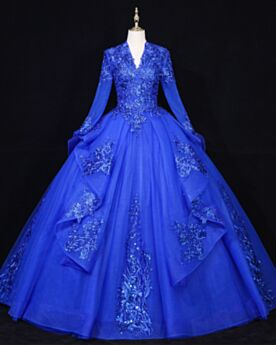 Charming Royal Blue Appliques Prom Dress Lace Ball Gowns Long Sleeve Quinceanera Dress