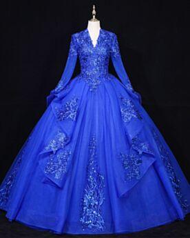 Schiena Scoperta Pizzo Con Tulle Eleganti Lunghi Abiti Da Cerimonia Principessa Blu Elettrico