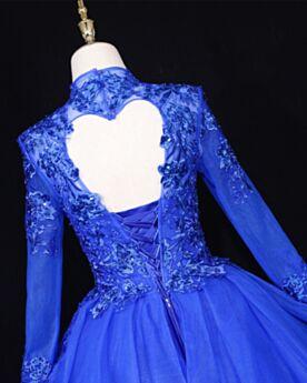 Lange Spitzen Elegante Royalblau Lange Ärmel Ballkleider Rückenfreies Quinceanera Kleid Prinzessin Applikationen