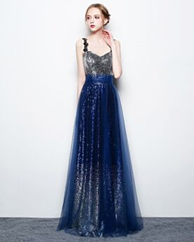 Sparkly Prom Dress Organza Long Spaghetti Strap Backless Empire Sequin Homecoming Dresses