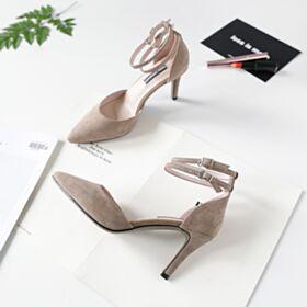 Tacchi Spillo Sandali 8 cm Tacco Alto Taupe Con Cinturino Alla Caviglia Camoscio