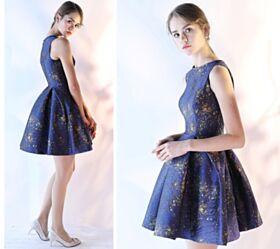 ミニ タフタ ブルー オケー ジョン ドレス フレア カクテル ドレス ノースリーブ 19620180925