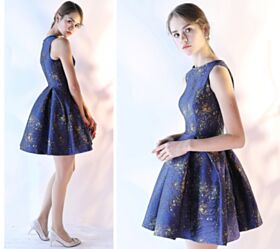 2018 Navy Blue Cocktail Dress Cute Short Printed Summer