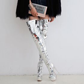 Over 5 inch Platform Slouch 2018 High Heels Thigh High Fur Lined Round Toe Stiletto Heels Going Out Shoes Silver Boots
