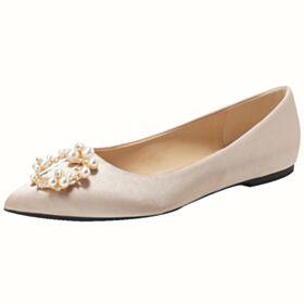 Zapatos De Novia Perlas Planas Color Champagne Ballerina
