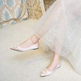 Flache Ballerina Schuhe Mit Perle Hochzeitsschuhe Satin Comfort Brautjungfer Schuhe