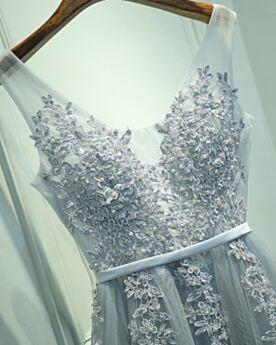 Lange Boho Trauzeugin Kleid Empire Rückenausschnitt Schulterfreies Abendkleider Applikationen Hochzeitsgäste Kleider Perlen Silber Spitzen Schönes
