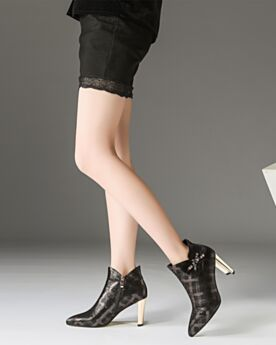 Black Ankle Boots For Women 3 inch High Heeled