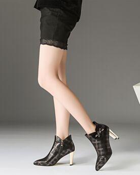 Blokhakken 8 cm High Heels Met Strik Zwart Enkellaarsjes