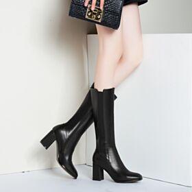 Schwarz Chunky Heel Klassisch Gefütterte Stiefel Lack