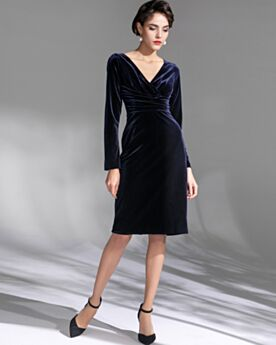 Mother Of Bridal Dresses Long Sleeve Empire Simple Wedding Guest Dresses Cocktail Dresses Navy Blue Knee Length Modest