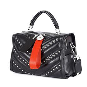 Crossbody Umhängetasche Schwarze Taschen Damen Gesteppte Mit Nieten Satchel Tasche
